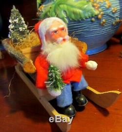 Gorgeous German Santa Claus Candy Container Wood Sled