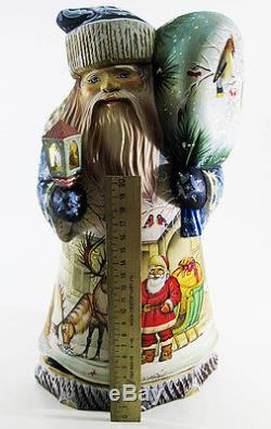 Great Santa Claus Father Frost Ded Moroz Wooden Carved Hand Painted BIG #31
