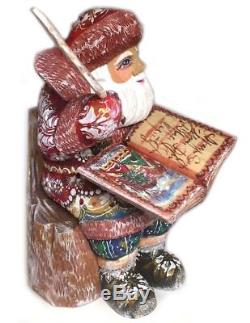 Hand Carved Painted Russian Santa Claus Figurine Sitting on a Wooden Chair WOW