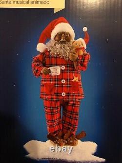 Holiday Living 28 African American Animated Musical Santa Claus NIB