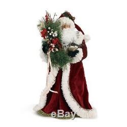 Holiday Merchantile Botanical Santa Claus Figurine, 20.5H