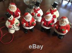 Holiday Vintage Royal Santa Claus Snowman Bubble lights lot of 7 9 Collecting
