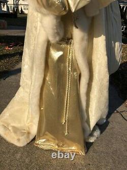 Horchow Santa Clause 50 Tall (4' Ft) White Gold Glitter Katherine's Collection