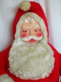 Huge 1960's Rushton Santa Claus, Store display blow mold plush plastic