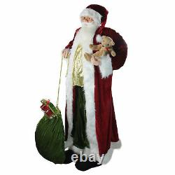 Huge 6' Life-Size Standing Plush Santa Claus Figure with Teddy Bear & Gift Bag