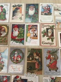 Huge Estate Lot of 30 SANTA CLAUS Antique Christmas Postcards-Vintage Santa