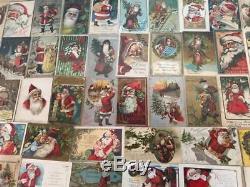 Huge Estate Lot of 55 SANTA CLAUS Antique Christmas Postcards-Vintage Santa