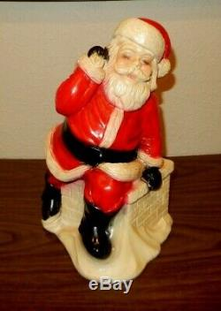 Huge Vintage Chalk Chalkware Santa Claus Dated 1974 Rare Christmas Decoration Y