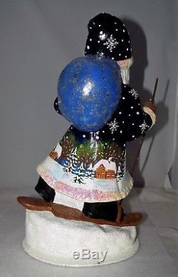 Ino Schaller Santa Claus Skis Paper Mache Handmade Germany Candy Figurine 14.5