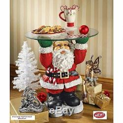 Jolly Christmas Old Santa Claus 22 Sculptural Glass-Topped Holiday Table