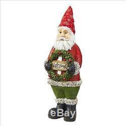 Jolly Old Saint Nicholas Santa Claus Christmas Holiday Welcome Wreath Statue