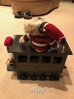 Karen Didion Christmas Red Santa Claus 3 Piece Train THE CRAKEWOOD COLLECTION
