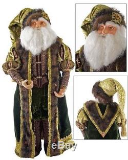 Katherine's Collection 24 Tapestry Santa Claus Green Woodland Doll NEW