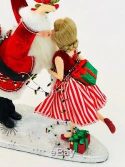 Katherine's Collection Christmas Kissing Mr & Mrs Santa Claus Figurine