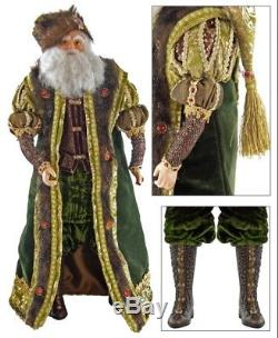 Katherine's Collection Green 18 Tapestry Santa Claus Doll NEW 28-628064