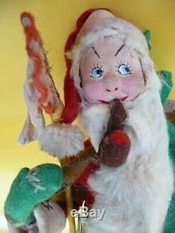 Klumpe Santa Claus vintage wool with fur Christmas doll Made in Spain with tag Rare