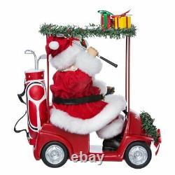 Kurt Adler Fabriche Santa Claus Driving Red Golf Cart Christmas Decor Figure NEW