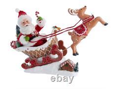 Kurt Adler Gingerbread Sled Santa Figure New 2021 FA0148 Fabriche