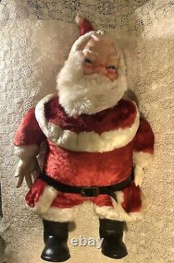 LARGE SANTA CLAUS plush doll stuffed rubber face vintage