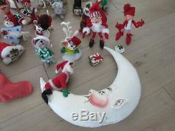 LOT vintage ANNALEE CHRISTMAS doll FIGURE Santa Claus MOON Elf RAINDEER Ornament