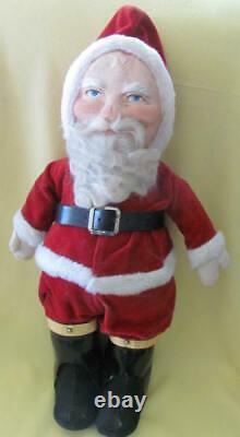 Large 21 inch mask face antique Santa Claus wool beard velvet suit