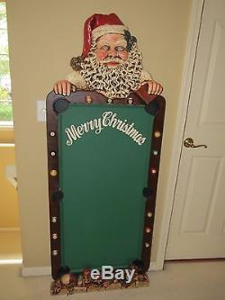 Large 5 Ft Tall Santa Claus Menu Chalkboard Signage Pool Themed Restaurant Pub