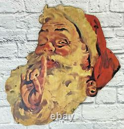 Large Advertising Vintage Christmas Santa Claus Clause Wooden Face Sign