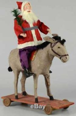 Large Antique Santa Claus Riding Donkey Store Display Germany BelsNickle