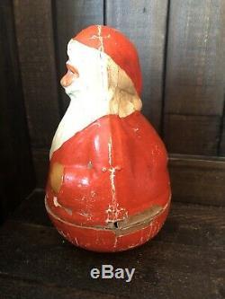 Large Antique Schoenhut 7 Paper Mache Roly Poly Santa Claus Christmas Toy
