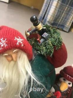 Large Christmas Handmade Santa Claus Figurine Doll Skis Skiing Antique