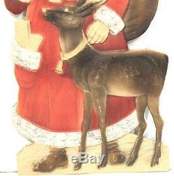 Large Die Cut, Heavily Embossed Santa Claus with Reindeer and Bell c1930s