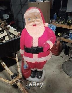 Large Huge Lighted Blow Mold 60 Santa Claus with Light Cord Life Size 5 Tall