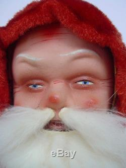 Large Old Vintage German Belsnickle Santa Claus in White Mohair Plush Coat
