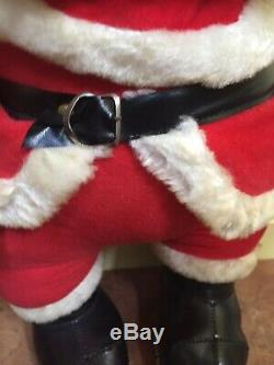 Large RUSHTON SANTA CLAUS, Vintage Rubber Face Standing Doll, Christmas Plush