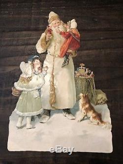 Large Victorian Antique White Robe Santa Claus German Christmas Die Cut Tuck