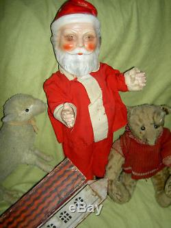 Large antique jointed composition SANTA CLAUS doll figure, molded beard & boots