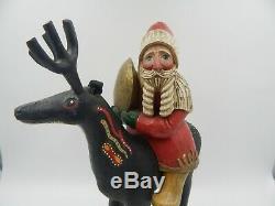 Leo Smith Santa Claus Carved Wood Folk Art Reindeer Vintage Christmas