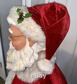 Life Size 5 Tall Santa Claus Animated Singing Musical Microphone TESTED Gemmy