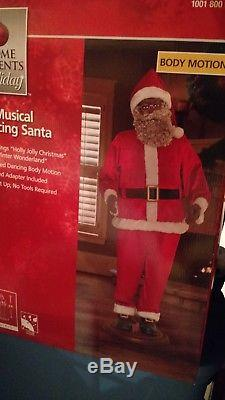 Life Size Animated Dancing African American Black Santa Claus