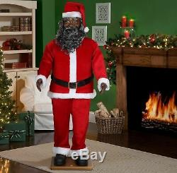 Life Size Animated Dancing African American Black Santa Claus 6 Ft UL Listed NEW