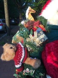 Life Size SANTA CLAUS Christmas Figure Decoration with Toys, Teddy Bear, wreath