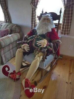 Life-Size Santa Claus Handmade Fabric Over 5 Tall