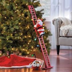 Lighted Animated Musical Santa Claus Climbing Ladder Christmas Holiday Decor