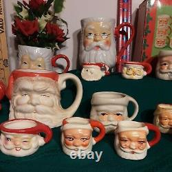 Lot 30+ CERAMIC SANTA CLAUS HEAD/FACE Winking Mug S, M, L, XL JAPAN, Holt Howard