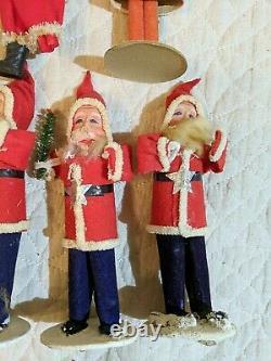 Lot 7 Vintage Made In Japan Santa Claus Figures Felt Paper Mache Composition