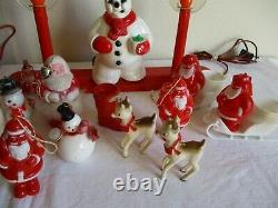 Lot Vtg SANTA CLAUS Royal Electric SNOWMAN Lighted CONTAINER Ornament CHRISTMAS