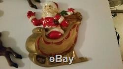 Lot of Vintage Reindeer and Santa Claus 1940s 50s Ceramic Plaster