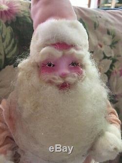 Lovely Pink Vintage Velvet Harold Gayle Christmas Santa Claus Rosie Cheeks #J