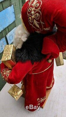 Lynn Haney Folk Art Good Tidings Santa Claus Figure 25 Signed