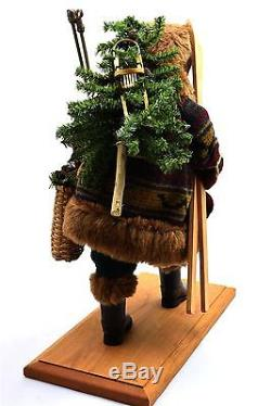 Lynn Haney Santa Claus Figurine Timberland Holiday 18 Skis Rustic Signed with Box